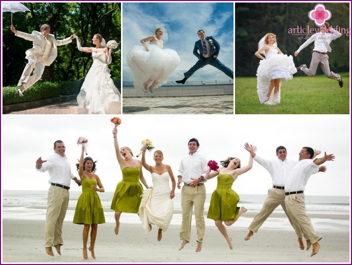 Wedding photo in a jump