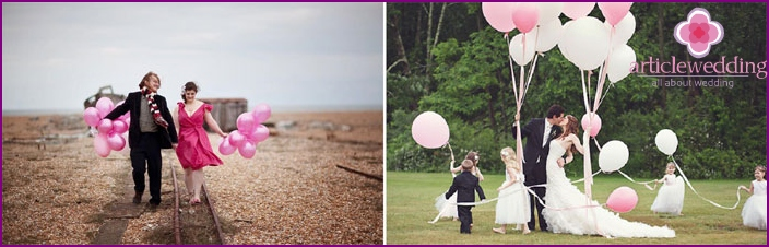 Wedding photography with balloons and snakes