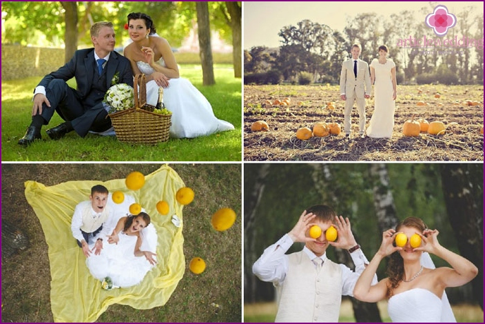 Shooting a wedding with fruits and vegetables