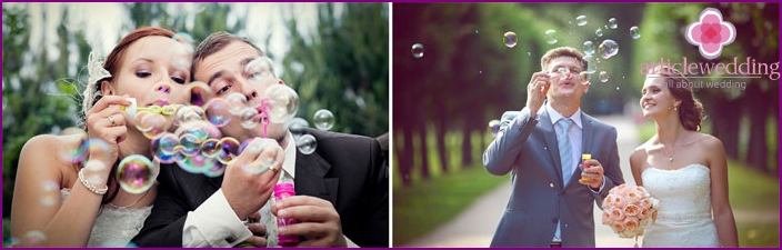 Photoshoot at the wedding with soap bubbles