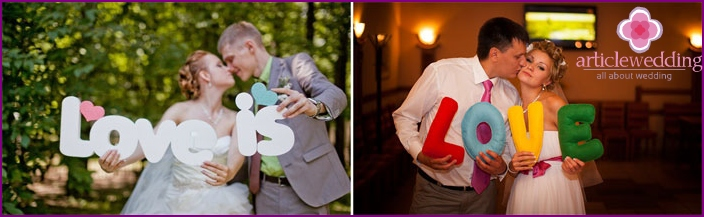 Letters as an accessory for the wedding photo shoot