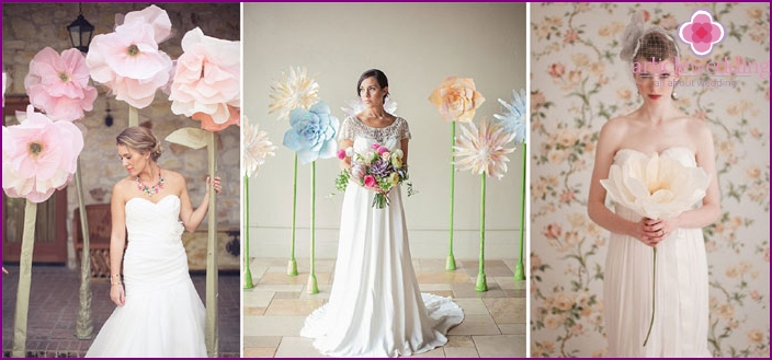Paper flowers on the wedding photo shoot