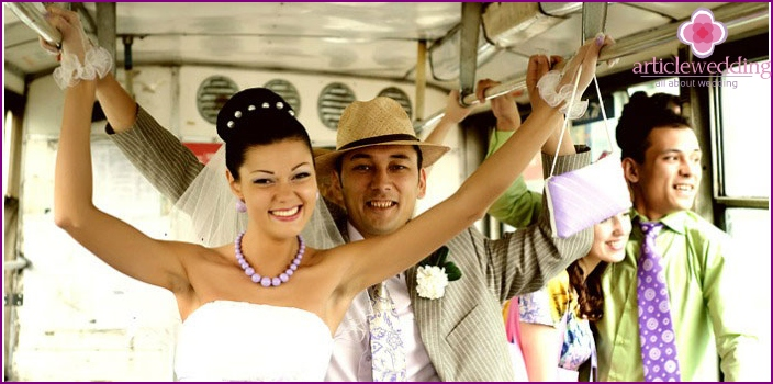 Photographing the newlyweds on a tram
