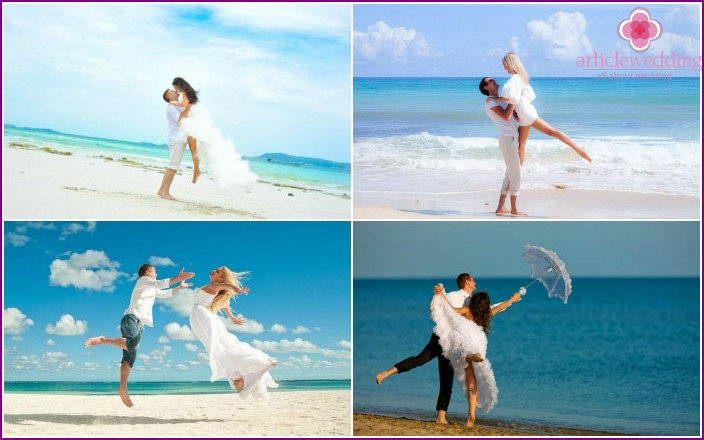 Sea photo shoot bride and groom