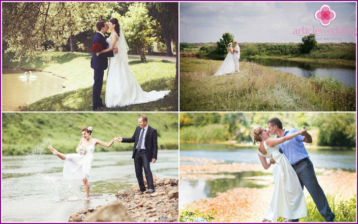 Pond or river - the background for wedding shooting