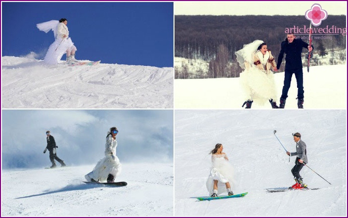 Photo newlyweds skiing