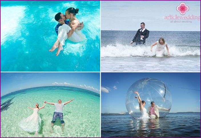 Photos of the newlyweds in the water