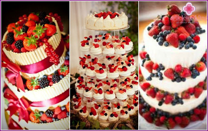 Cake for wedding fruit