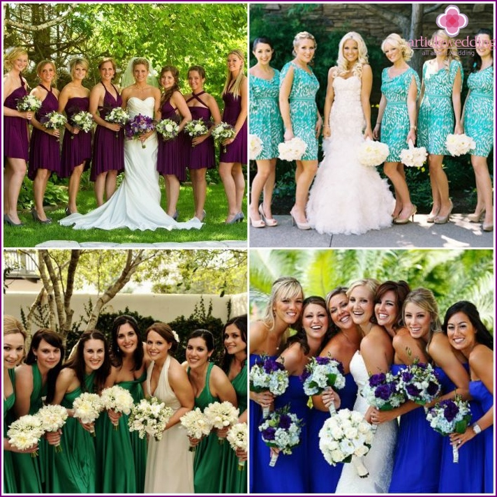 Flower arrangements for the bride and her bridesmaids