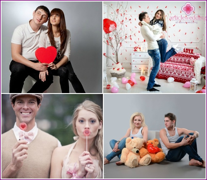 Shooting loving couple with accessories