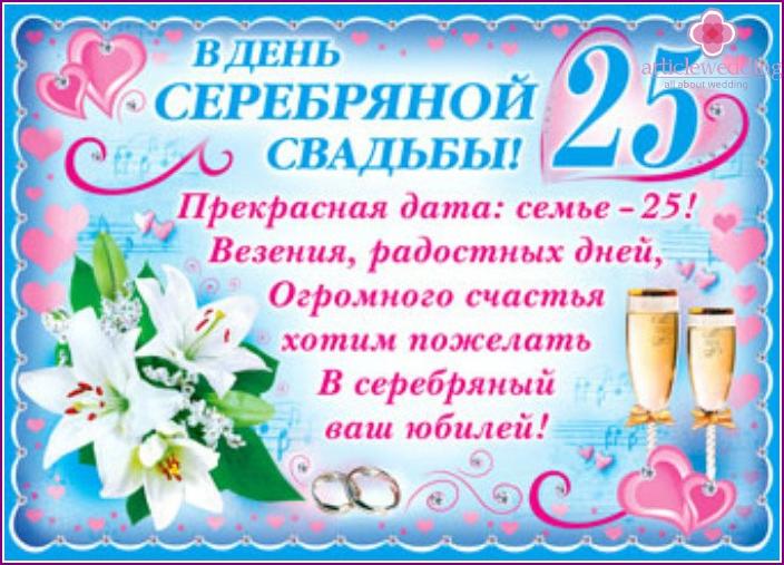 Congratulations to the twenty-fifth wedding anniversary