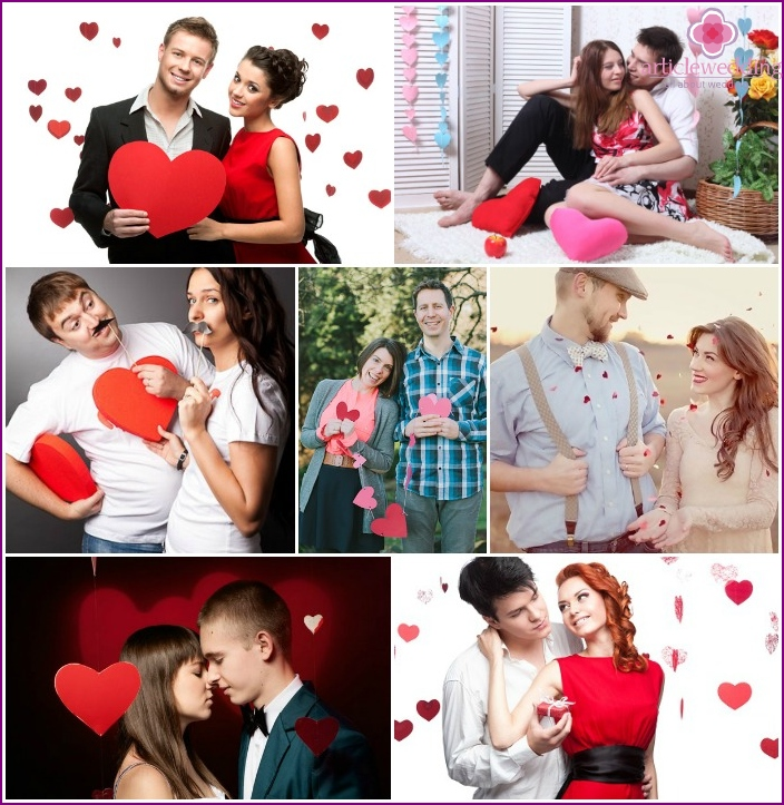 Shooting lovers with hearts