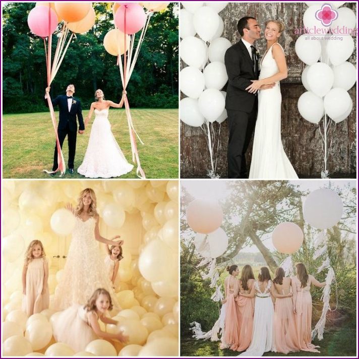 Balloons for the wedding photo shoot