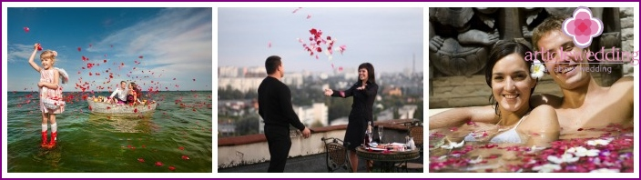 Photoshoot loving couple with rose petals
