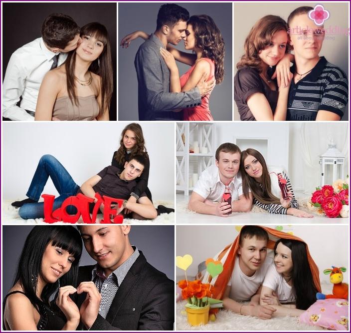 Photoshoot loving couple in the studio