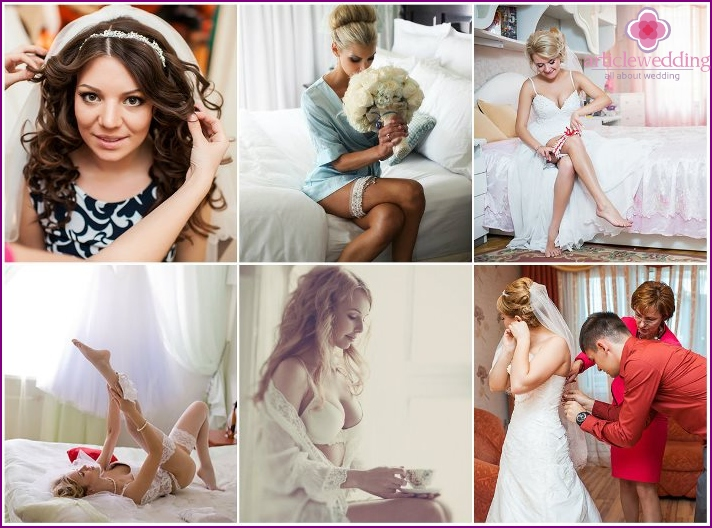 An example of a wedding photo shoot at the bride's fees