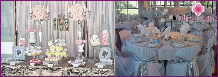 The decor of the hall to the silver wedding