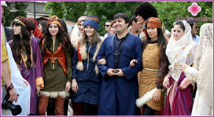 Guests of the wedding in the Caucasus