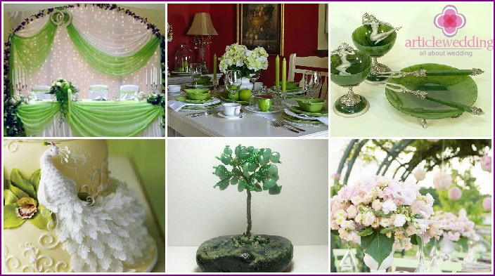 Wedding decor in shades of green