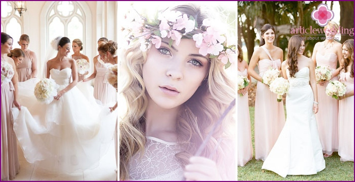 The idea for a photo shoot: Bride with friends