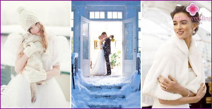 Winter photo shoot bride in her wedding dress