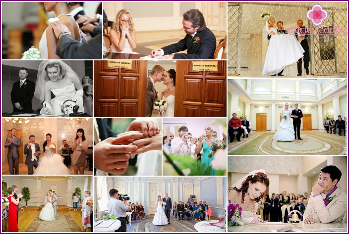 Wedding photo session in a registry office
