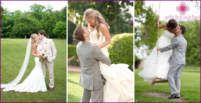 Photo newlyweds in park