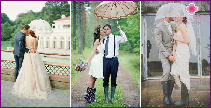 A wedding under an umbrella in rubber boots