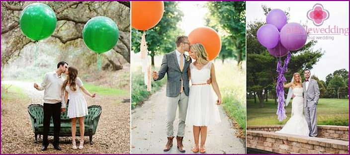 Big balloons for the wedding photo shoot