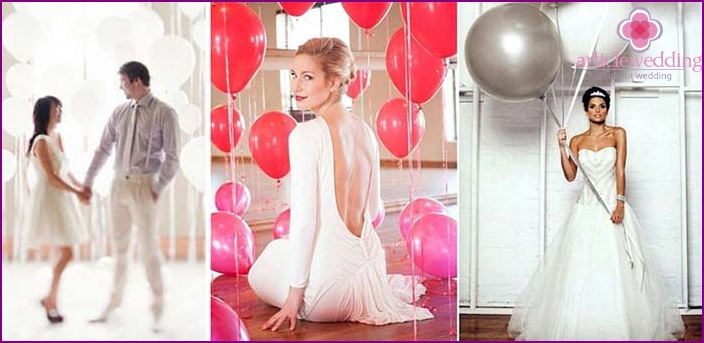 Wedding photo shoot with balloons in the studio