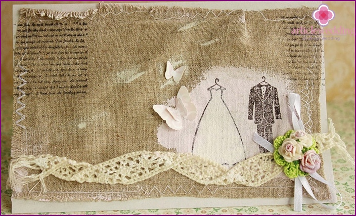 Original greeting - a symbolic gift for the wedding linen