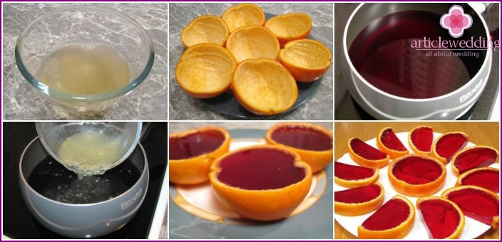 Orange peel with cherry jelly