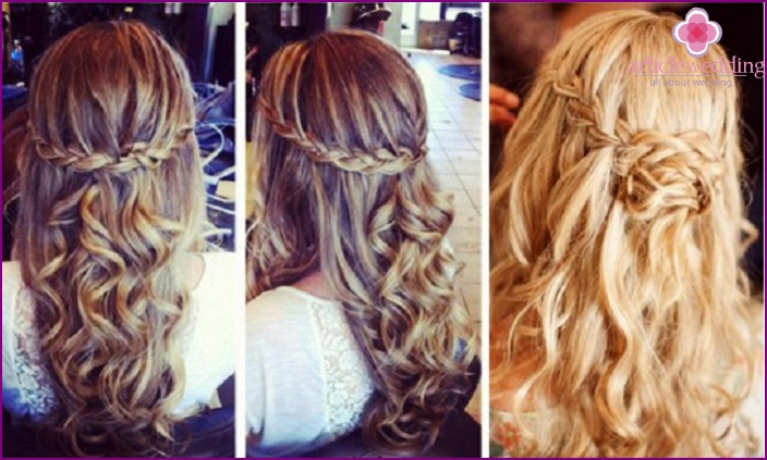 Wrap in braids long curled hair