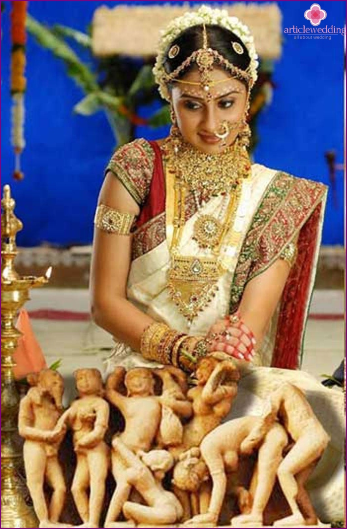 bride's outfit is perfectly combined with ornaments