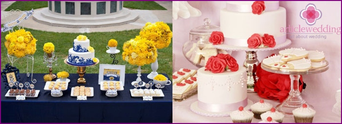 The color scheme of the sweet table at a wedding