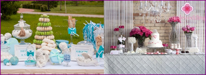 Stylish dessert table at the wedding