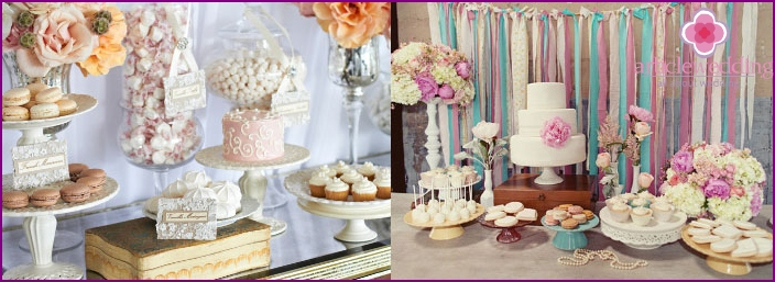 Vintage style decoration wedding candy bar