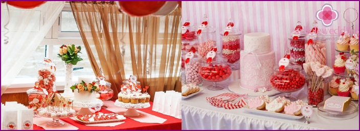 Examples decor wedding table delicacies