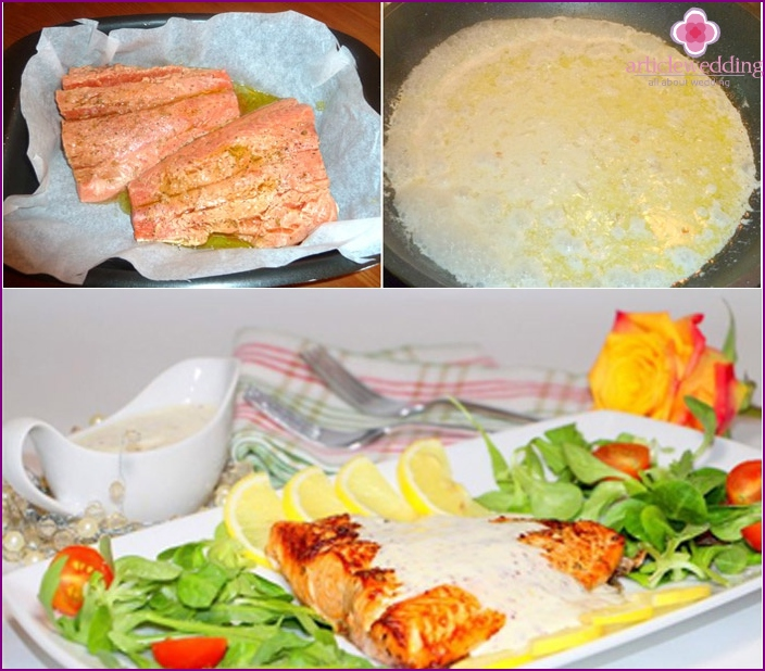 Recipe wedding dishes: hot salmon fillets