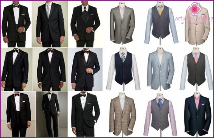 The groom and the guests at the wedding outfits for men
