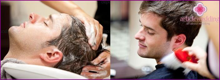 Men's haircut at the barber