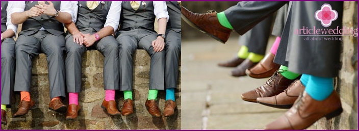 Bright and groomsmen attire friends