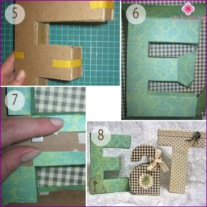 Voluminous cardboard letters: step by step instructions