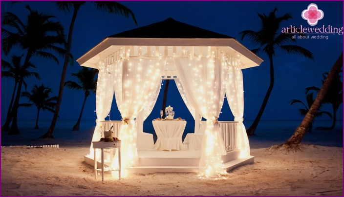 Wedding tent on the shore