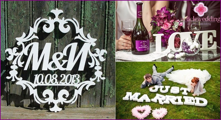 Volume foam letters for wedding