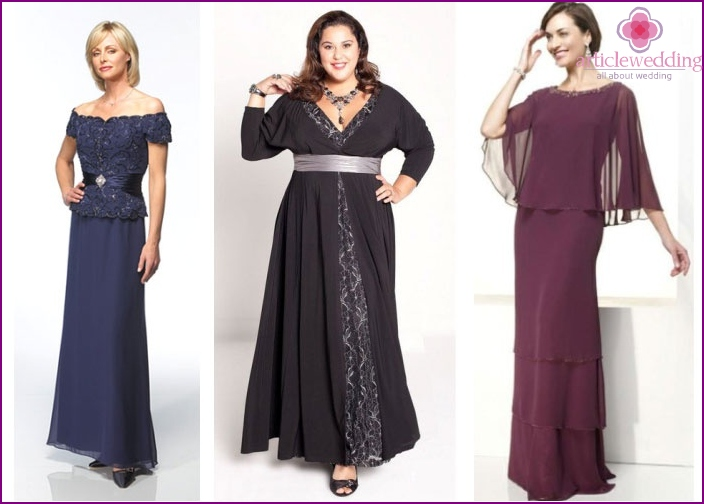 Examples of evening dresses for mother of the groom