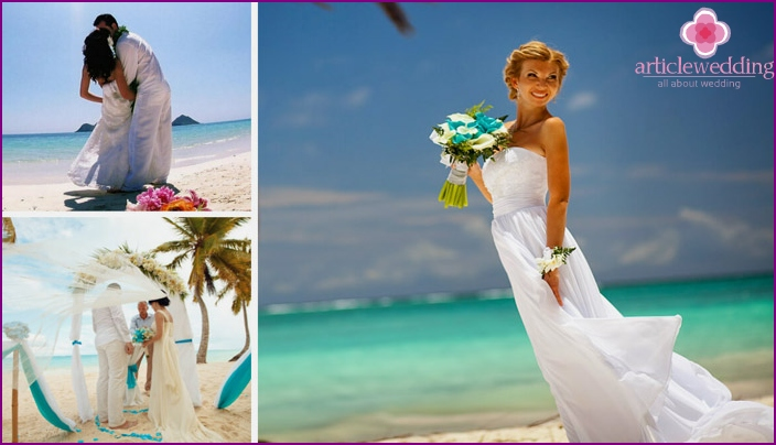 The bride's dress for a beach ceremony