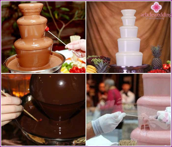 Chocolate fountain for different varieties of accessories