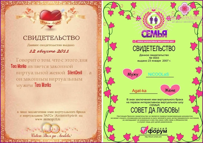 Virtual marriage certificate