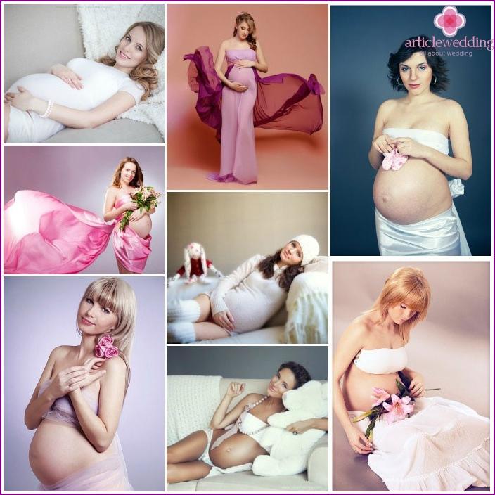 Fotoset pregnant woman in the studio
